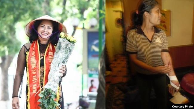 Bà Bùi Thị Minh Hằng trước và sau 5 tháng tù đầu tiên.