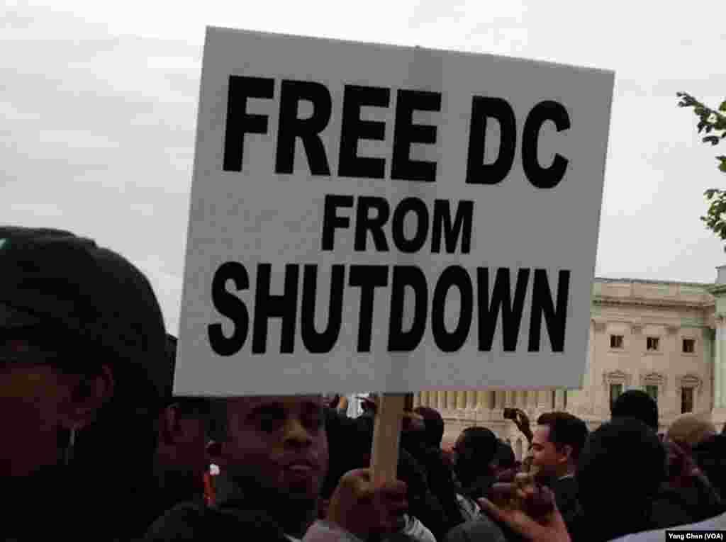 DC 政府雇员国会前抗议(美国之音杨晨拍摄)