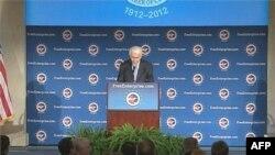 Predsednik Privredne komore, Tomas Donahju tokom redovnog godišnjeg govora o stanju Amerike na poslovnom planu, 12. januar 2012.