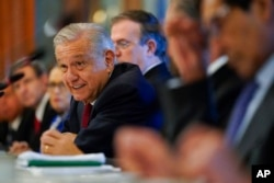 Mexican President Andrés Manuel López Obrador speaks during a working breakfast with Secretary of State Antony Blinken at the National Palace in Mexico City, Oct. 8, 2021.