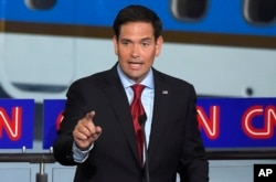 FILE - Republican presidential candidate, Sen. Marco Rubio, R-Fla., speaks during the CNN Republican presidential debate at the Ronald Reagan Presidential Library and Museum, Sept. 16, 2015.