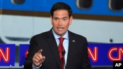 "FILE - Republican presidential candidate Marco Rubio, shown during a debate Sept. 16, 2015, in Simi Valley, Calif., told ABC News that ""I obviously don't come from a wealthy family."""