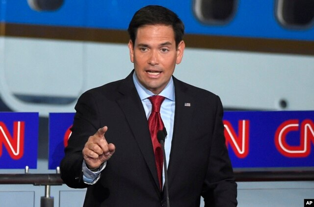FILE - Republican presidential candidate, Sen. Marco Rubio, R-Fla., speaks during the CNN Republican presidential debate at the Ronald Reagan Presidential Library and Museum on Wednesday, Sept. 16, 2015.