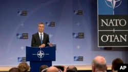 NATO Secretary General Jens Stoltenberg addresses the media at NATO headquarters in Brussels, Nov. 24, 2015.