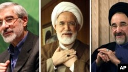 A combo of file pictures shows (L-R) defeated Iranian presidential candidate Mir Hossein Mousavi, reformist presidential candidate Mehdi Karroubi and former reformist president Mohammad Khatami (2009 file photo)