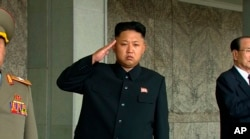 FILE - North Korean leader Kim Jong Un (C) salutes during a Sept. 9, 2013, military parade in Pyongyang.