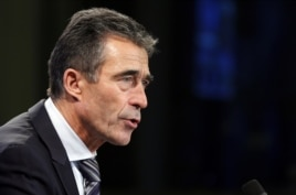 NATO Secretary-General Anders Fogh Rasmussen addresses a news conference in Brussels, Belgium, November 5, 2012.