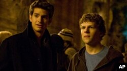"Andrew Garfield, left, and Jesse Eisenberg stars as 'Mark Zuckerberg' in Columbia Pictures' ""The Social Network"""