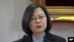 ប្រធានាធិបតីកោះតៃវ៉ាន់ អ្នកស្រី Tsai Ing-wen ថ្លែងសុន្ទរកថាប្រចាំឆ្នាំក្នុងពិធីបុណ្យចូលឆ្នាំសាកល នៅទីក្រុងតៃប៉ិ កោះតៃវ៉ាន់ ថ្ងៃពុធ ទី១ ខែមករា ឆ្នាំ២០២០។