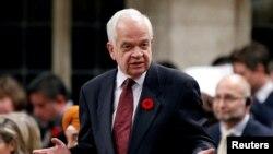 John McCallum, yang saat itu menjabat menteri imigrasi Kanada, berbicara di hadapan DPR Kanada di Parliament Hill, Ottawa, Ontario, 31 Oktober, 26 Januari 2019. McCallum dipecat sebagai Dubes Kanada untuk China.