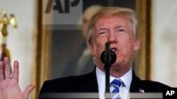 Tổng thống Donald Trump trong bài phát biểu tại Tòa Bạch Ốc ngày 15/11/17.