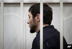 Zaur Dadayev, one of five Nemtsov murder suspects stands in court in Moscow on March 8, 2015.