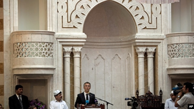 Norwegian Prime Minister and leader of the Labour Party Jens Stoltenberg speaks to Muslims gathered at Central Jamaat Ahle Sunnat mosque in Oslo, July 29, 2011
