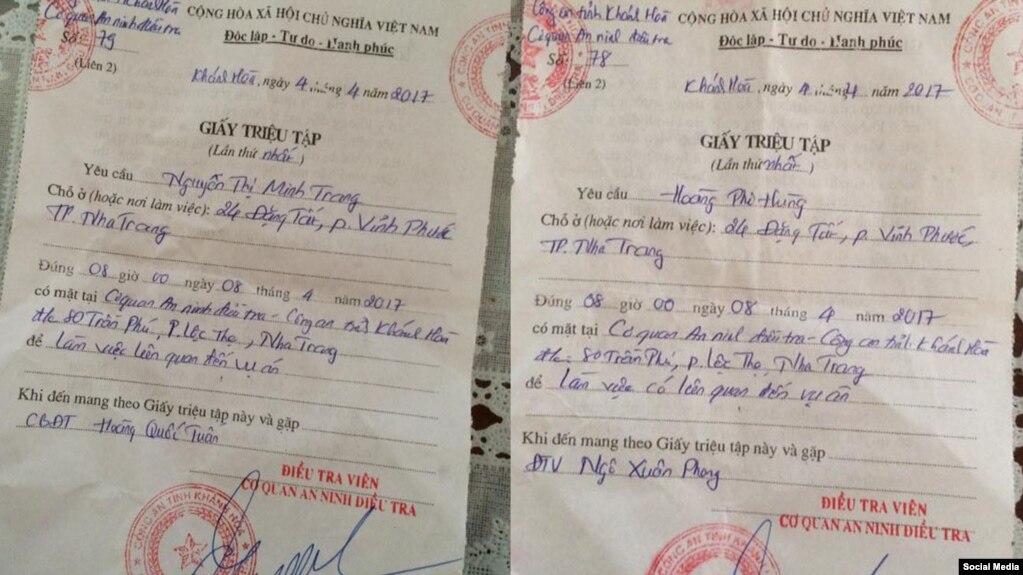 Giấy triệu tập gửi cho bà Nguyễn Thị Minh Trang và ông Hoàng Phi Hùng (Facebook Nguyễn Thị Tuyết Lan)