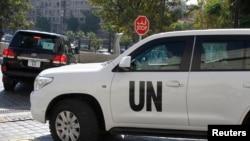 Jedno od vozila sa inspektorima Ujedinjenih nacija koji rade na uništavanju hemijskog naoružanja u Siriji
