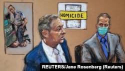 Član tužilačkog tima Steven Schleicheri optuženi Derek Chauvin na sudskoj skici tokom iznošenja završnih riječi (REUTERS/Jane Rosenberg)