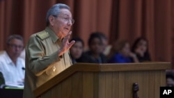FILE - Cuban President Raul Castro addresses the National Assembly in Havana, Cuba, Dec. 27, 2016.