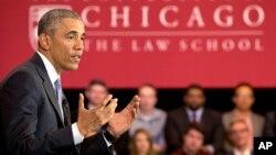 اوباما دانشکده حقوق دانشگاه شیکاگو را برای سخنرانی انتخاب کرد که ده سال در آنجا تدریس کرده است.