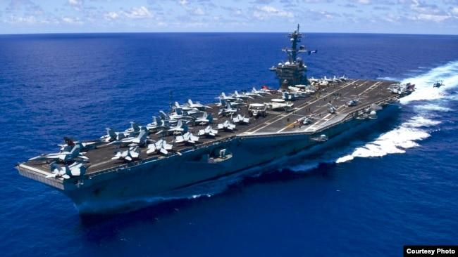 Hàng không mẫu hạm Mỹ USS Carl Vinson mới tới Biển Đông thực hiện tuần tra tự do hàng hải, lần đầu tiên dưới thời kỳ nắm quyền của ông Trump.
