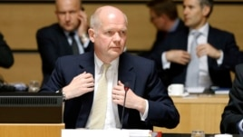 Britain's Foreign Secretary William Hague at  EU foreign ministers meeting in Luxembourg April 22, 2013