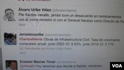 """Imagen de la cuenta de twitter del ex presidente de Colombia Álvaro Uribe. Califica de """"canalla"""" al presidente Juan Manuel Santos."""