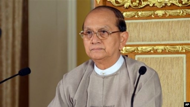President Thein Sein delivers televised address vowing government protection for rights of minority Muslims, Naypyitaw, May 6, 2013.