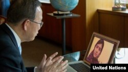 UN Secretary-General Ban Ki-moon speaks via Skype with Pakistan's Malala Yousufzai, Apr. 5. 2013