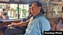 民主黨成員林子健被警方拘捕(蘋果日報照片)