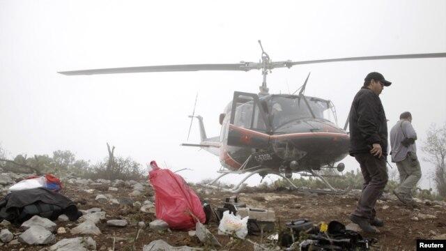 Zona del accidente de la cantante Jenni Rivera cuando se desarrollaban operaciones de recuperación de los cadáveres.