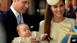 Britain's Prince William, Kate Duchess of Cambridge with their son Prince George arrive at Chapel Royal in St. James's Palace in London, for the christening of the three month-old Prince George, Oct. 23, 2013.