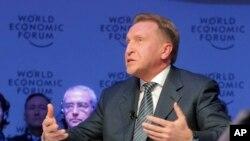 Wakil Perdana Menteri Rusia Igor Shuvalov menghadiri sebuah sesi pada hari ketiga dalam pertemuan tahunan Forum Ekonomi Dunia di Davos, Swiss, 19 Januari 2017. (Foto: dok).