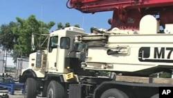A Putzmeister concrete pump in Los Angeles