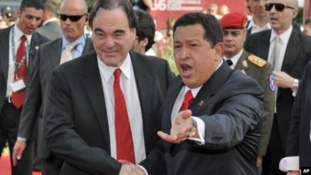 Filmmaker Oliver Stone with Venezuelan President Hugo Chavez in Venice.