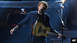 """Ed Sheeran performs at """"Stevie Wonder: Songs in the Key of Life - An All-Star Grammy Salute,"""" at the Nokia Theatre L.A. Live, Feb. 10, 2015, in Los Angeles."""
