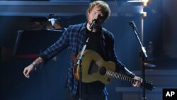 "Ed Sheeran performs at ""Stevie Wonder: Songs in the Key of Life - An All-Star Grammy Salute,"" at the Nokia Theatre L.A. Live on Feb. 10, 2015, in Los Angeles."
