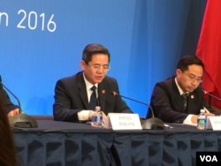 中国外交部副部长郑泽光举行记者会(美国之音莉雅拍摄)