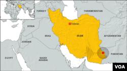 16일 이란 지진 발생지점. 진도 7.8의 강진으로 40명 이상 사망했다.
