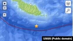 Peta daerah gempa di Kepulauan Solomon (12/4).