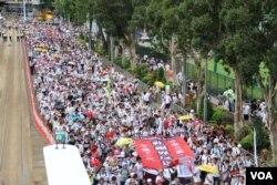 2019年6月9日香港反對逃犯條例修法大遊行 (美國之音申華拍攝)