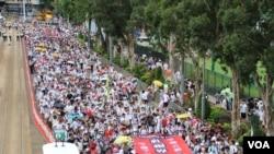 """资料照:2019年6月9日,据信百万名香港民众参加""""反送中""""大游行 。"""