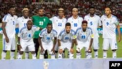 Equipe nationale ya Gabon na éliminatoires ya Coupe du monde, na stade Mohammed, Casablance, Maroc. 7 octobre 2017.