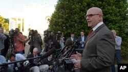 National Security Adviser H.R. McMaster speaks to the media outside the West Wing of the White House in Washington, May 15, 2017.