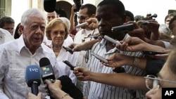 美国前总统卡特3月29日在古巴首都哈瓦那回答记者提问