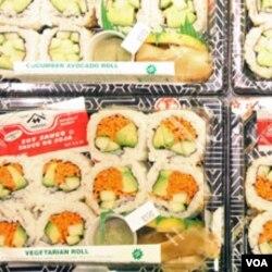 Sushi berisi sayur-sayuran di Kikka Sushi.