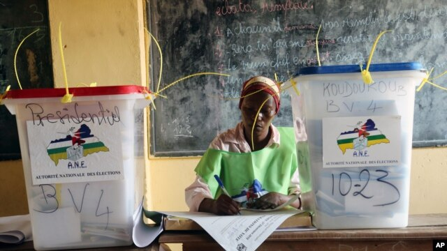 FILE - A election official writes as people cast their ballots during elections in Bangui, Central African Republic, Dec. 30, 2015.