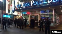 2015年11月18号警察在纽约时代广场附近警戒。