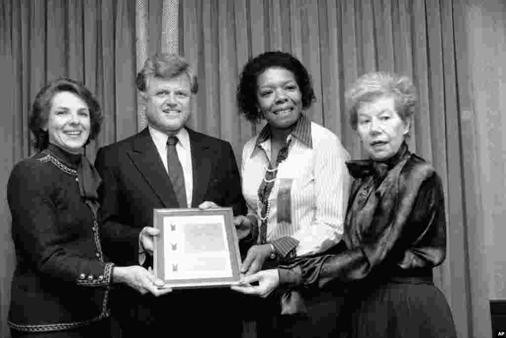 Sen. Edward M. Kennedy is shown with three of 1983's six women in the field of communications who received the Matrix Award from the New York Chapter of Women in Communications, Inc. From left: Jane Bryant Quinn, Maya Angelou and Mary McGrory.