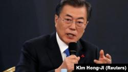 El presidente surcoreano, Moon Jae-in, durante una rueda de prensa en Seúl, Corea del Sur, el 10 de enero de 2018. REUTERS/Kim Hong-Ji
