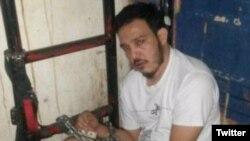Diputado opositor venezolano Wilmer Azuaje, aparece en una foto tomada subrepticiamente hace poco en la cárcel del Servicio Bolivariano de Inteligencia SEBIN.