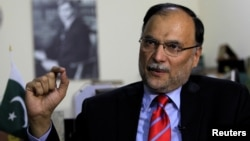 Ahsan Iqbal, Pakistan's interior minister, speaks with Reuters in Islamabad, Pakistan, June 12, 2017.
